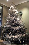 Kerstboom streepkes 2010 aangekleed